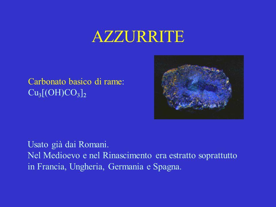 AZZURRITE Carbonato basico di rame: Cu3[(OH)CO3]2
